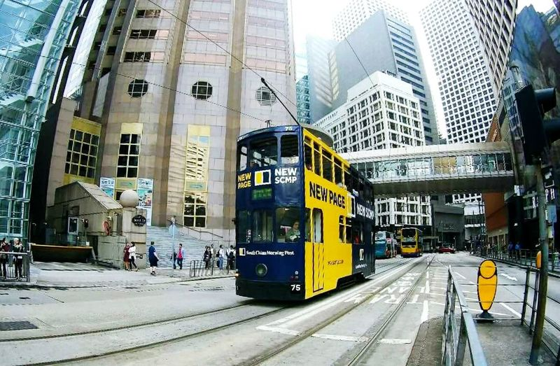 The tram ride at Central, Hong Kong- April 2018 Summer Exploratorium City Skyscraper Public Transportation Railroad Track Modern City Life Business Finance And Industry City Street Architecture Building Exterior Summer Exploratorium Adventures In The City Focus On The Story