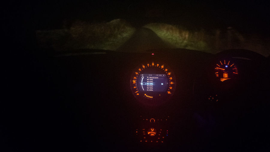 Colour Control Panel Country Road Driving Without Moonlight Gauge Illuminated Night No Sign Of The Supermoon!