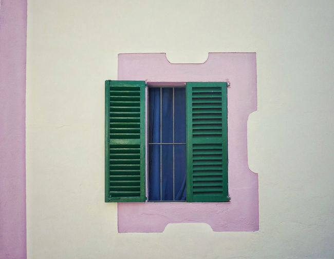 Windows And Doors Window Green Bleends Blue Curtains Pink And White Wall Facade Detail No People Architecture Facade Simplicity Geometry Minimal