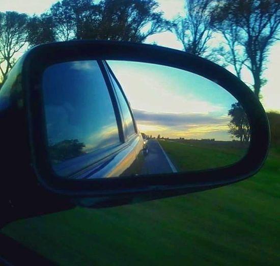 espejo Espejo Retrovisor Paisaje Atardecer La Pampa Argentina Ruta Viajeros Vista Tranquil Scene Calm