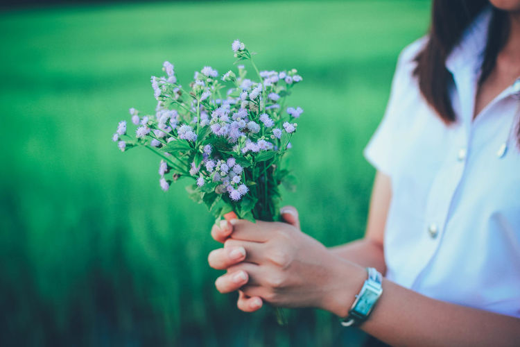 Adult Beauty In Nature Bouquet Close-up Day Flower Flower Arrangement Flowering Plant Focus On Foreground Fragility Freshness Hand Holding Human Body Part Human Hand Midsection Nature One Person Outdoors Plant Vulnerability  Women