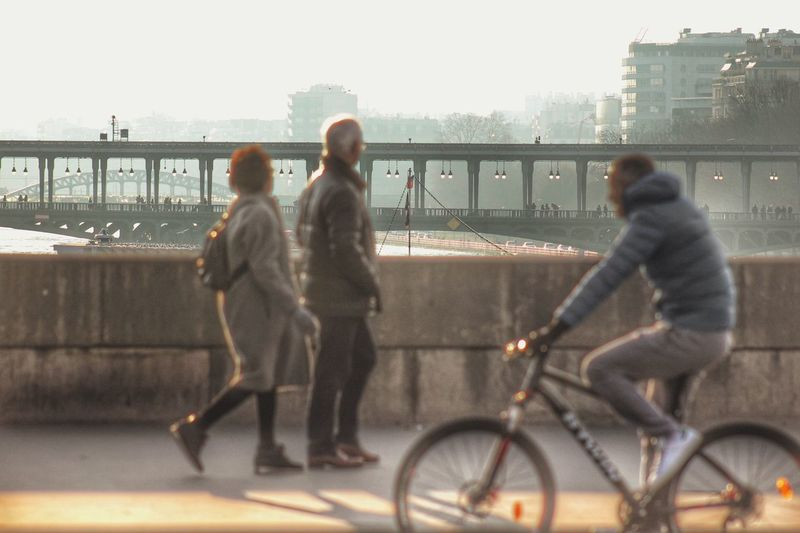 Sunny day in Paris Railing Bicycle City Transportation Full Length Built Structure Bridge - Man Made Structure Men Architecture Leisure Activity Day Women Lifestyles Outdoors Sky Building Exterior Togetherness Adult People Real People