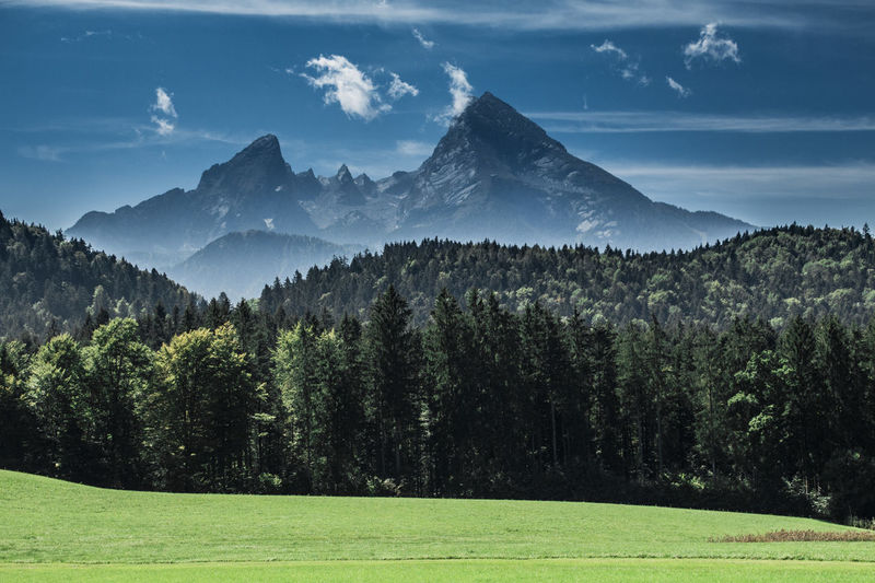 Watzmann Bavaria Watzmann Beauty In Nature Cloud - Sky Day Environment Forest Grass Green Color Land Landscape Mountain Mountain Peak Mountain Range Nature No People Outdoors Scenics - Nature Sky Tree