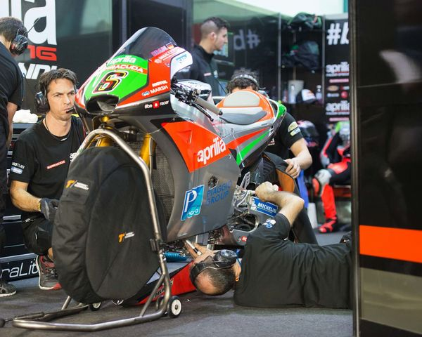 MotoGP riders during the final preseason test before the start of the 2016 MotoGP season Aprillia Bike Detail Losail LosailCircuit Motogp MotoGP2016 Motorcycle Motorsports Preseason Qatar Race Racing Test
