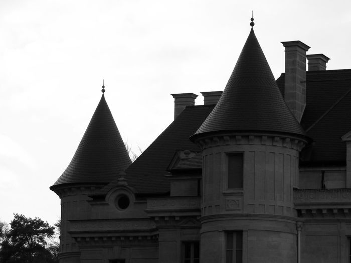 Black and white castle part Castle Part Black And White Against Sky White Sky Black Roofs Close-up Towers History Architecture Sky Building Exterior