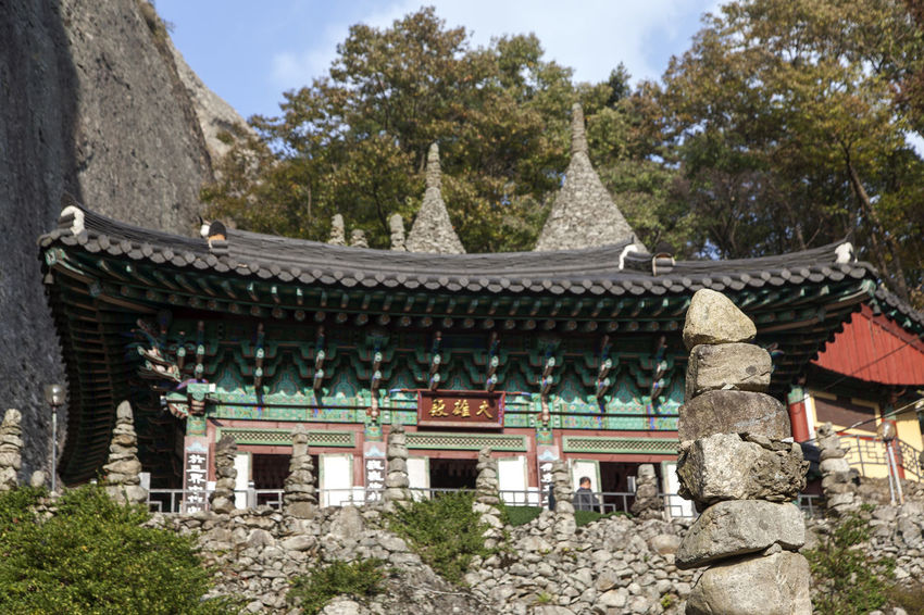 Tapsa, a Buddhism temple in Maisan, Muan, Jeonbuk, South Korea Architecture Buddhism Building Exterior Built Structure Cultures Day Eaves History Low Angle View Maisan No People Outdoors Place Of Worship Religion Sky Sprituality Stone Tower Tapsa Temple Travel Destinations Tree