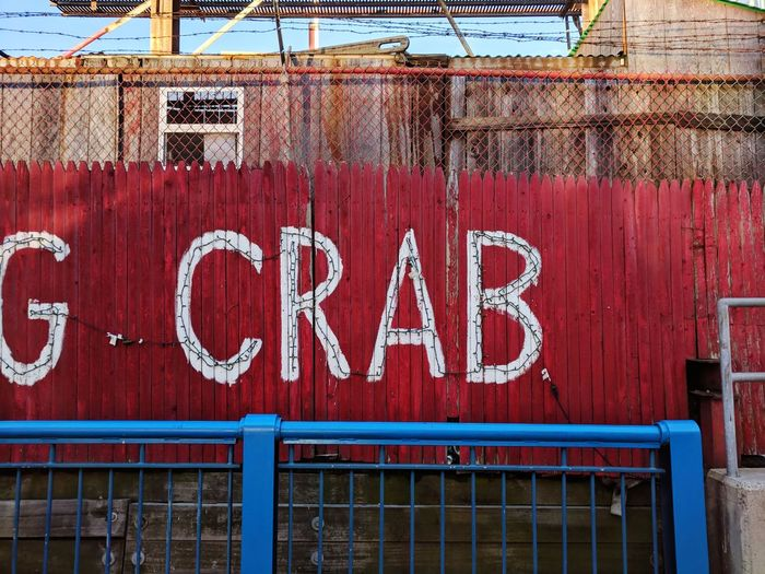 Crab Crab - Seafood Seafood Restaurant Seafood Text Day Communication No People Outdoors Red Architecture Building Exterior Close-up