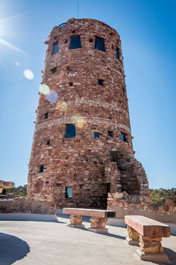 Desert View Tower at Grand Canyon Arizona Brick Wall Desert View Tower Grand Canyon Ancient Architecture Blue Building Building Exterior Built Structure Clear Sky Day History Low Angle View Nature No People Old Outdoors Sky Sunlight The Past Tourism Travel Travel Destinations