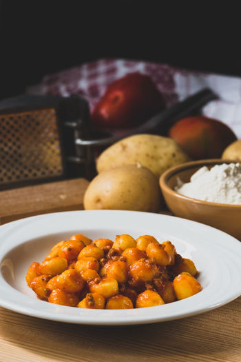 Food And Drink Gnocchi Close-up Food Food And Drink Freshness Gnocchihomemade Healthy Eating Indoors  Italian Food No People Plate Plate Of Food Potatoes Ready-to-eat Sauce Serving Size