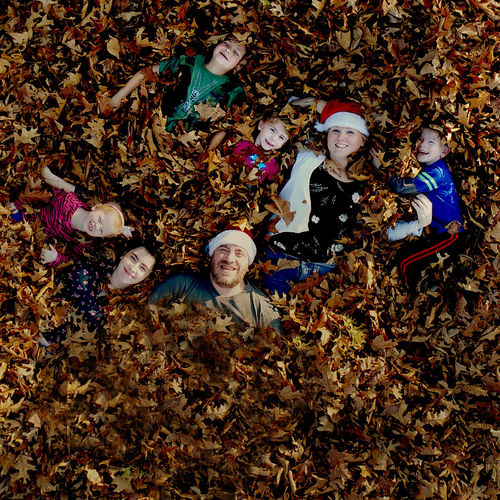 Christmas Family Santa Adult Adults Only Aerial Aerial View Autumn Change Crowd Day Dry Females Friendship Group Of People Happiness Leaf Looking At Camera Men Nature Outdoors People Portrait Smiling Togetherness