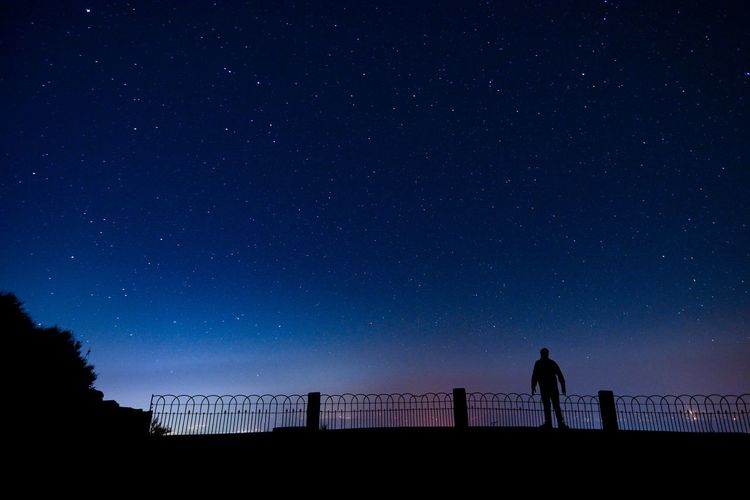 Silhouette people standing against clear sky at night
