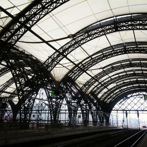 Railroad tracks at hauptbahnhof dresden