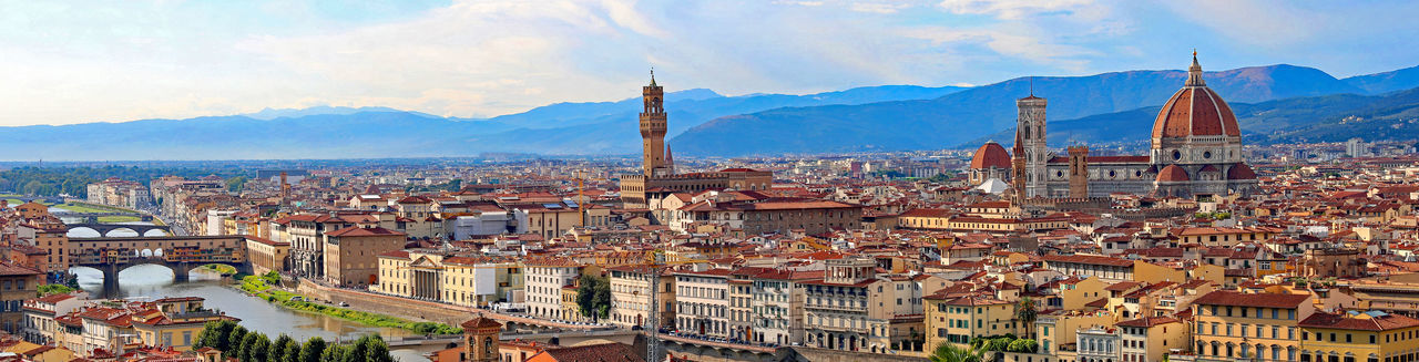 fantastic view of Florence with Palazzo Vecchio and the Arno River and the Duomo #Firenze #Florence Duomo Duomo Di Firenze Firenze Florence Italy Panorama Panoramic Vivid Vivid Colours  Architecture Building Exterior City Cityscape Day Domestic Animals Firenzemadeintuscany Florence Italian Italy Palazzo Vecchio Panoramic Travel Destinations Urban Skyline Vibrant