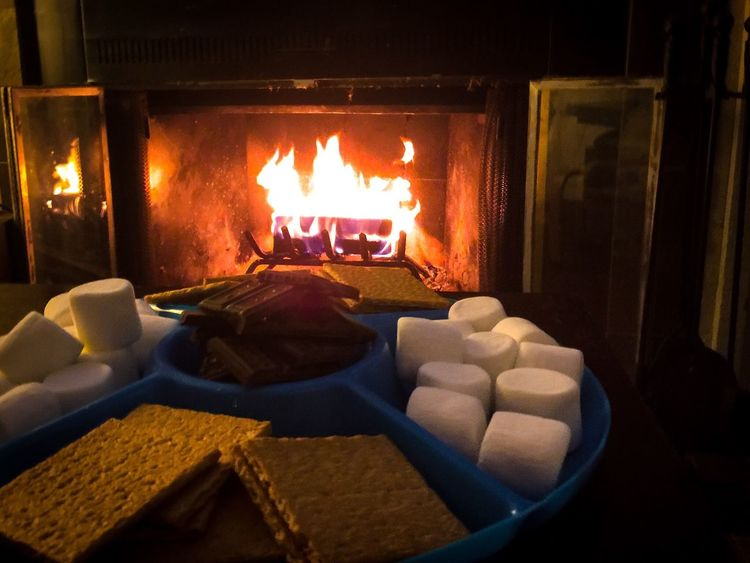 Holidays Fire Smores Chocolate Marshmallows Grahamcrackers Fireplace Coffee Table