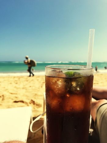Sea Beach Drink Clear Sky Refreshment Beachlife Food And Drink Sand Sky Horizon Over Water Nature Outdoors Day Vacations Water Men One Person Freshness Close-up Sommergefühle
