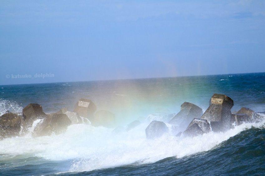 Blue Wave Sea Wave Wave Splash Spindrift Rainbow Colors Japan Neture Seascape Seascape Photography Japan Photography EyeEm Japan