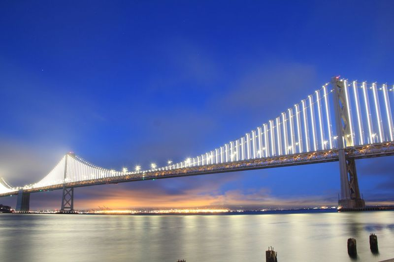 San Francisco Bay Bridge Architecture Bridge - Man Made Structure Water Tranquility Nightphotography Night Lights The Architect - 2017 EyeEm Awards