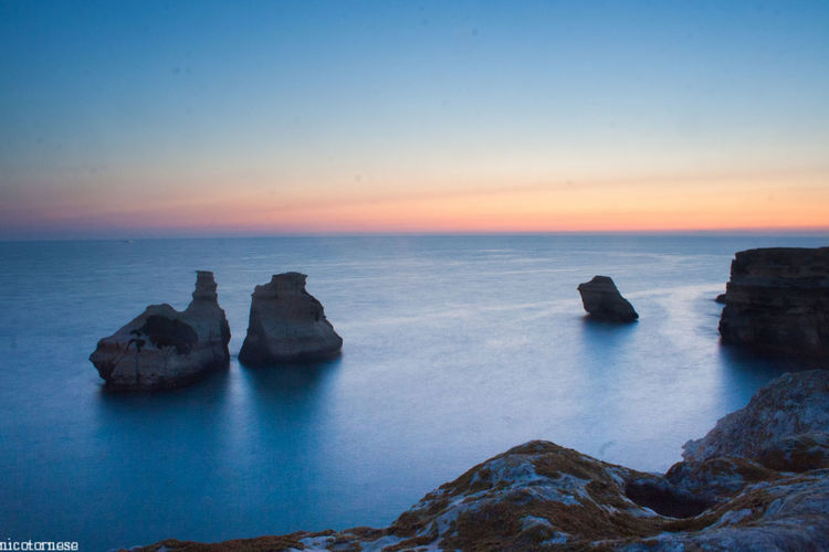 Sunrise Sea Horizon Over Water Sunset Landscape Tranquil Scene Rock - Object Coastline Idyllic Beauty In Nature No People Nature Outdoors Clear Sky Scenics Travel Destinations Beach Sky Day Italia Puglia Nature Beauty In Nature Long Exposure Water Travel