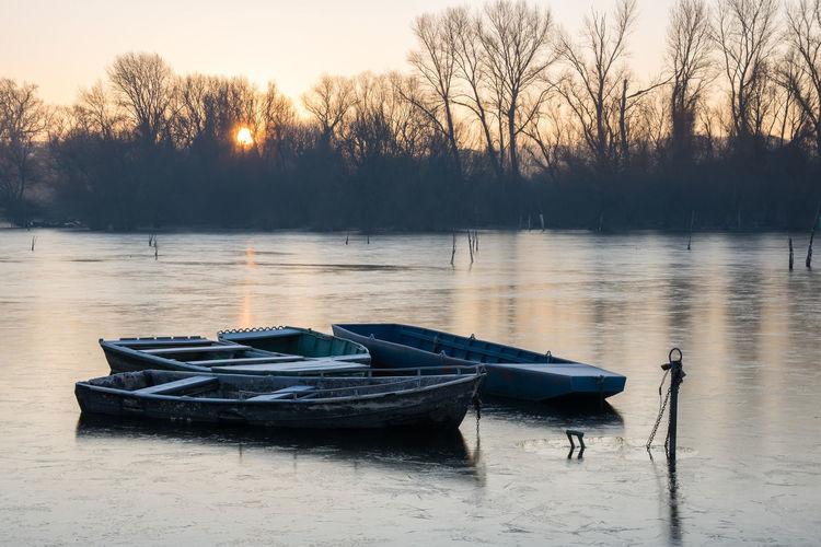 Frozen morning on the Danube Coastline Danube Frost Morning Novi Sad Quayside Riverside Serbia Sunny Winter Boat Boats Coast Cold Cold Temperature Frosty Mornings Landscape Quay River Riverbank Sail Sailing Sailing Boat Sunrise Water