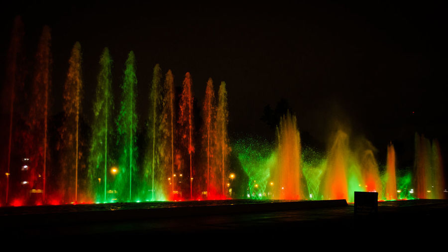 Parque de las Aguas Fuente❤Agua Lima Lima-Perú Nature Night Lights Nightphotography Water Reflections Beauty In Nature Flame Fontain Illuminated Motion Nature Night No People Outdoors Scenics Water Water_collection