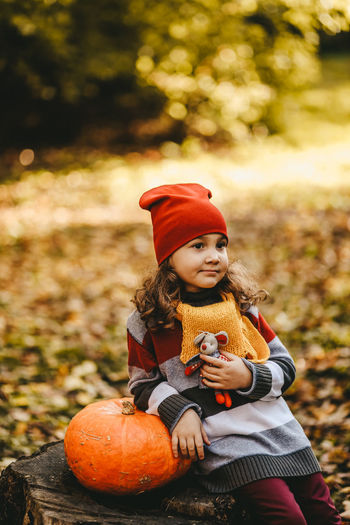 A little girl kid in warm dress and a red hat is sitting with a pumpkin on a stump in an autumn park