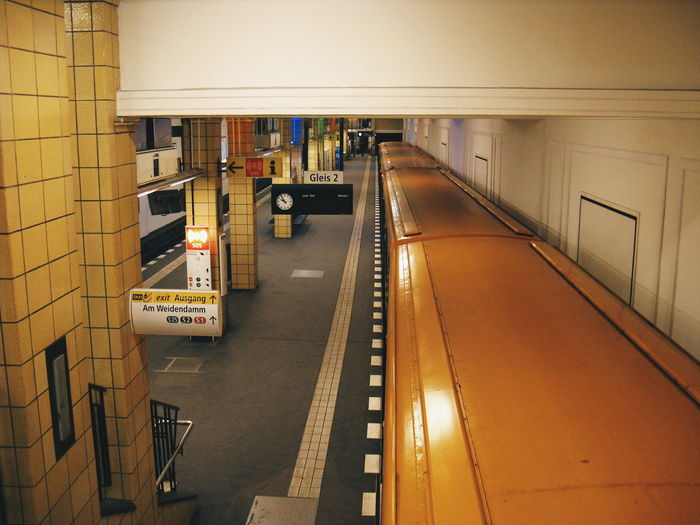 High angle view of yellow train at railroad station