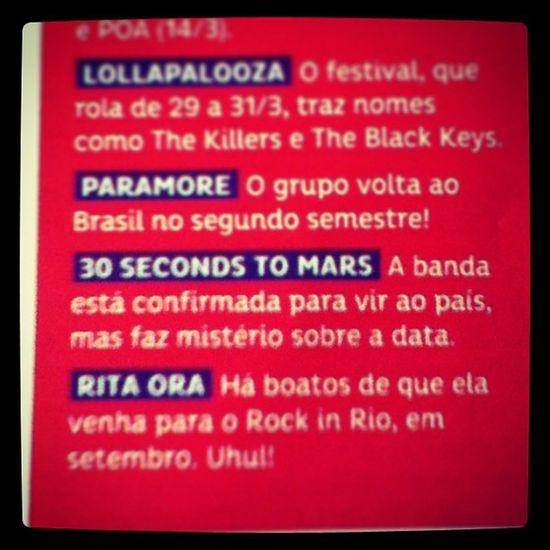 @30secondstomars no Brasil em 2013!!!!!!!!!!!! MegaHappy Bestbandintheworld MARSisCOMING Capricho revista @jaredleto @tomofromearth @shannonleto @echelonbrazil