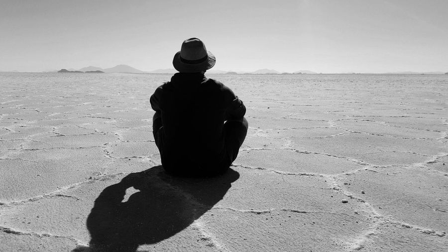 Monochrome Photography Shadow Loneliness Tranquil Scene Nature Bolivia Bolivia Uyuni Bolivie Uyuni Uyuni Salt Flat Salar De Uyuni Southamerica Travel Travel Destinations Travel Photography Tunisian