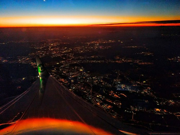 City form airplane Aerial View Night Sky Sunset Dramatic Sky Landscape Outdoors No People First Eyeem Photo