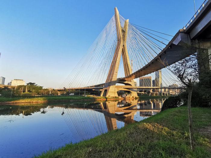 Bridge over lake against clear blue sky