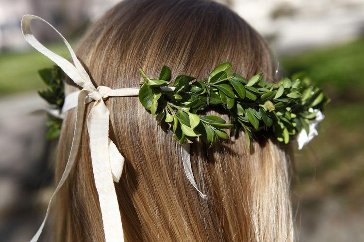 Rear view of woman wearing wreath