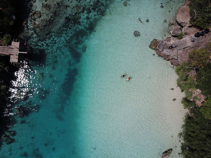 Aerial view of people swimming in sea
