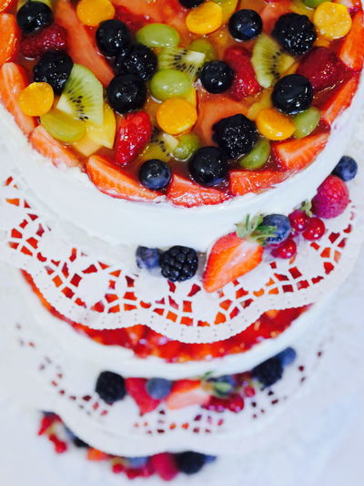 High angle view of fruit cakes