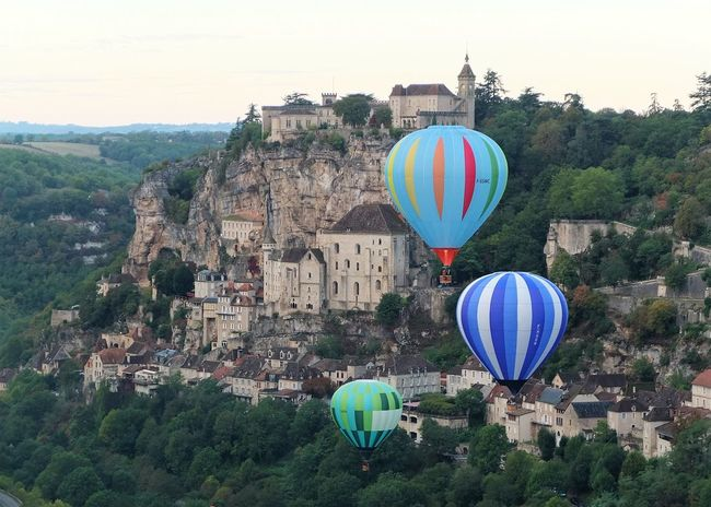 Day France Grass Hot Air Balloon No People Outdoors Rocamadour Tree