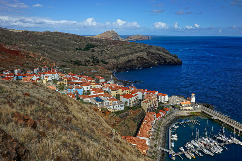 Hafen Kirche Leuchtturm Madeira Portugal Architecture Beauty In Nature Building Exterior Built Structure Cloud - Sky Day High Angle View Horizon Over Water Landschat Mountain Mountain Range Nature No People Outdoors Scenics Sea Segelbote Sky Town Travel Destinations Water