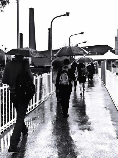 Blackandwhite Photography Umbrella Army Rainy Days Train Station