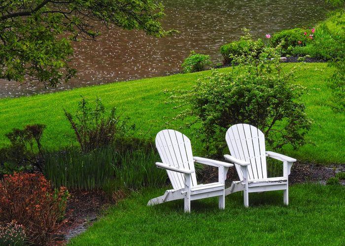 Empty chair in garden