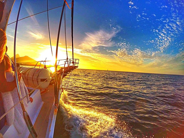 Sailing in South Africaaaa❤️ Sunset Sea Sky Horizon Over Water Water Beauty In Nature Scenics Sun Sailing Outdoors Travel Cape Town Tranquility Lifestyles Hanging Out Hello World Enjoyment