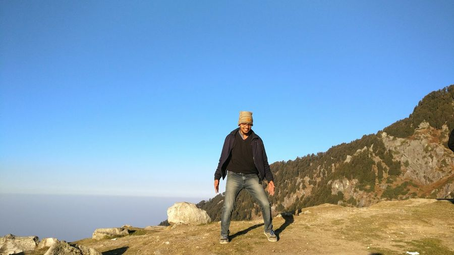 My Year My View One Person Day Blue Outdoors Clear Sky Nature Sky Adventure Beauty In Nature Photography In Motion Leisure Activity. Trekking Hanging Outdoorslife