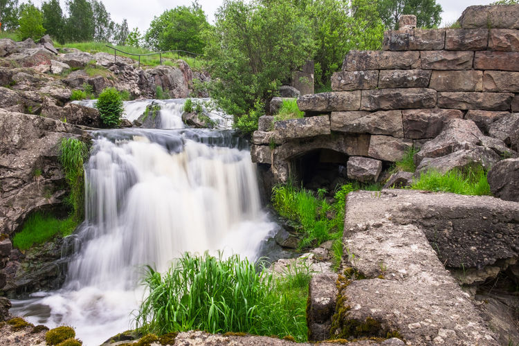 Beautiful rapid with fast flowing water and rocks, long exposure. Natural seasonal travel outdoor background in Finland Waterfall Motion Long Exposure Plant Tree Scenics - Nature Water Flowing Water Blurred Motion Beauty In Nature Forest Power In Nature Travel Destinations Falling Water Outdoors Flowing Rock - Object Rock Nature No People Finland Rapid Ruins Old River