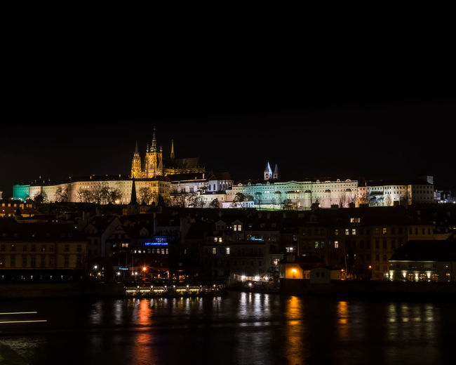 the beauty that is Prague, both by day and night Castle Best EyeEm Shot Bestoftheday Nightshot Nightphotography Night Nightlights City Cityscape Illuminated Water Urban Skyline Sky Architecture Building Exterior Riverbank