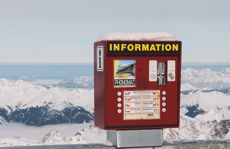 Capital Letter Cold Temperature Communication Guidance Horizon Over Water Information Information Sign Kitzsteinhorn Machine Nature Non-western Script Number Red Sea Sign Sky Snow Text Warning Sign Water Western Script Winter The Great Outdoors - 2016 EyeEm Awards The Great Outdoors With Adobe Ice Age Lost In The Landscape Shades Of Winter