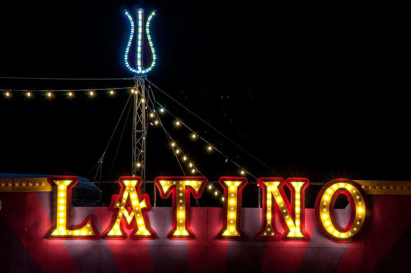 Illuminated Night Text Sign Glowing Light Latino Circus Circus Tent No People