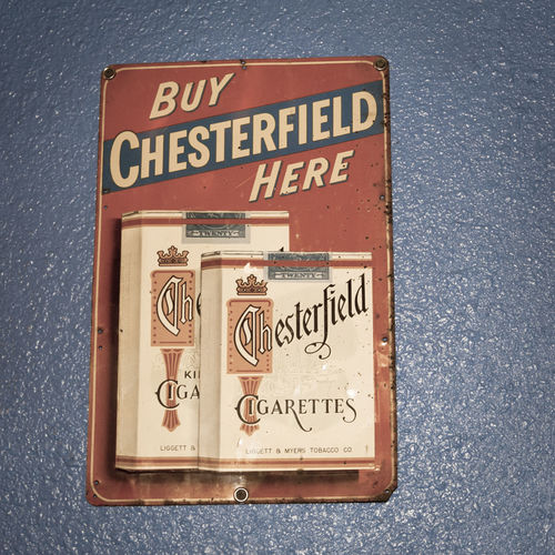 Antique Cigarette Sign Antique Cigarette Capital Letter Chesterfield Chesterfield Cigarette Sign Cigarette Sign Close-up Communication Day Forbidden Geometric Shape Information Information Sign Message No People Outdoors Red Road Sign Smoking Text Western Script