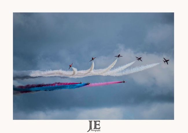 Sky Cloud - Sky Vapor Trail Airshow Low Angle View Flying Airplane Teamwork Smoke - Physical Structure Transportation Fighter Plane Speed Mode Of Transport Military Airplane Air Vehicle Outdoors Day Motion Multi Colored Performance
