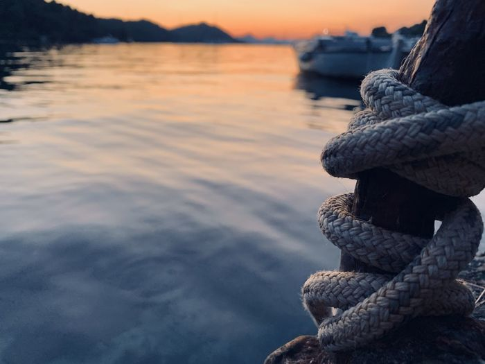 Close-up of rope on rock