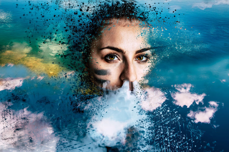 she creative The Creative - 2019 EyeEm Awards Water Portrait Beautiful Woman Beautiful People Human Eye Pixelated Human Face Blue Beauty Looking At Camera Dissolving Surreal Mysterious Gateway Fantasy Dreamlike Ethereal Surrealism