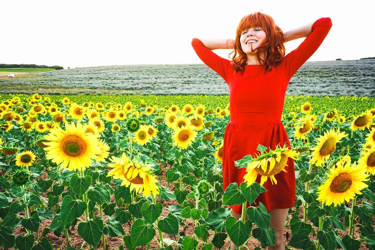 Full length of sunflowers in field against sky