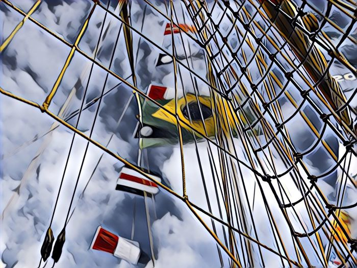 Flags -  low angle view of sky