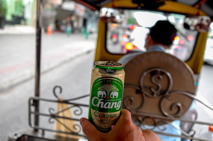 Beer Beer Time Chang Chang Beer Focus On Foreground Holding Lager Beer Men Product Of Thailand Tuk Tuk In Bangkok TukTuk Tuktuk Thailand